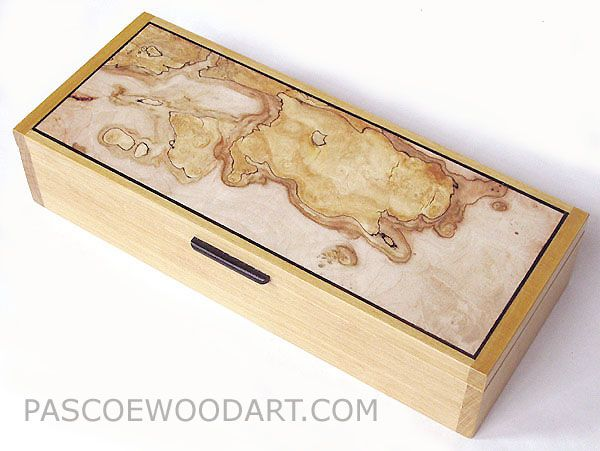 Handmade Decorative Boxes Desktop Box Or Pen Box  Ceylon Satinwood Box With Spalted Maple