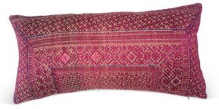 "Chinese Silk Embroidered Textile Pillow  -  22""L x 10.5""H  -  OneKingsLane  -  ($525.00)  $285.00"