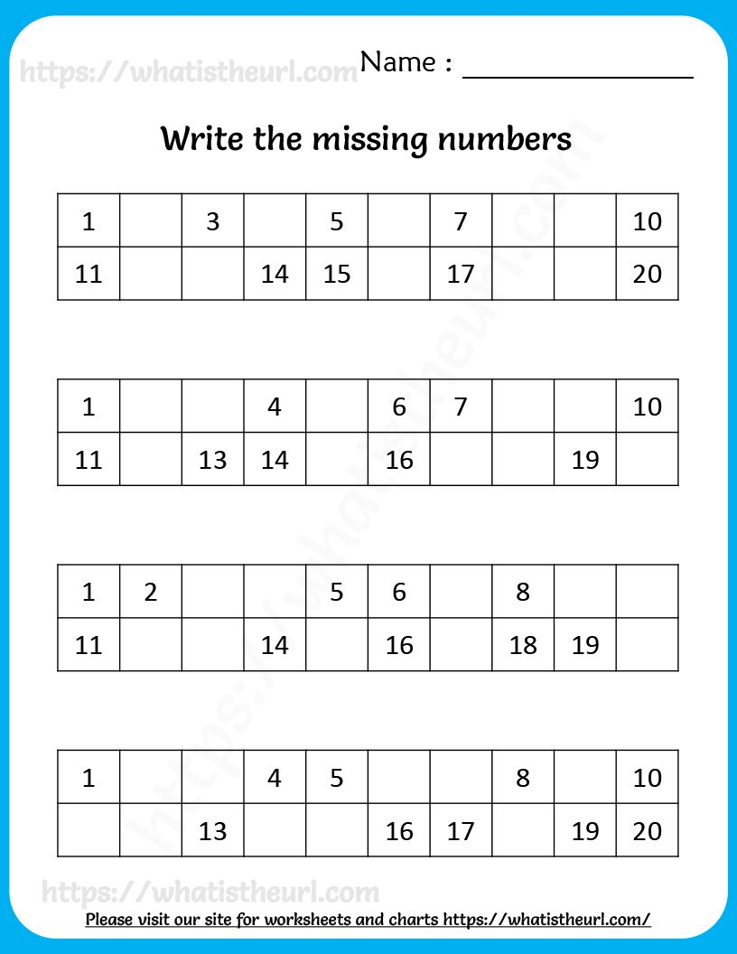 Write The Missing Numbers In 2020 Missing Numbers Writing Worksheets For Kids