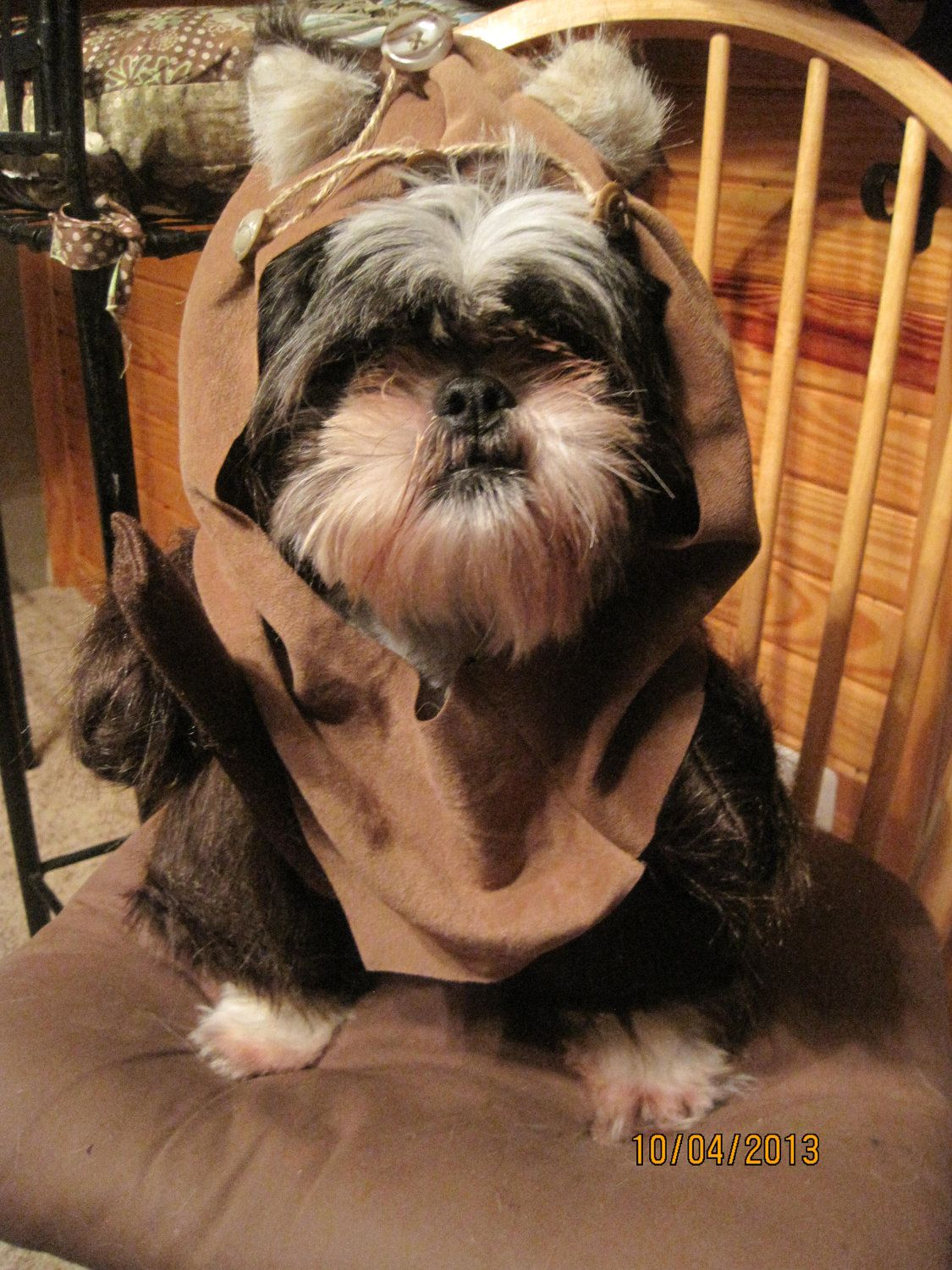 ewok dog costume shih tzu ewok hood fur dog halloween costume size small pet 5445