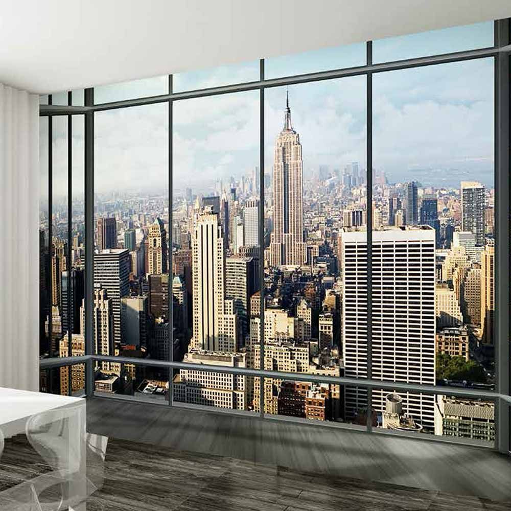 new york skyline window wall mural design pinterest window