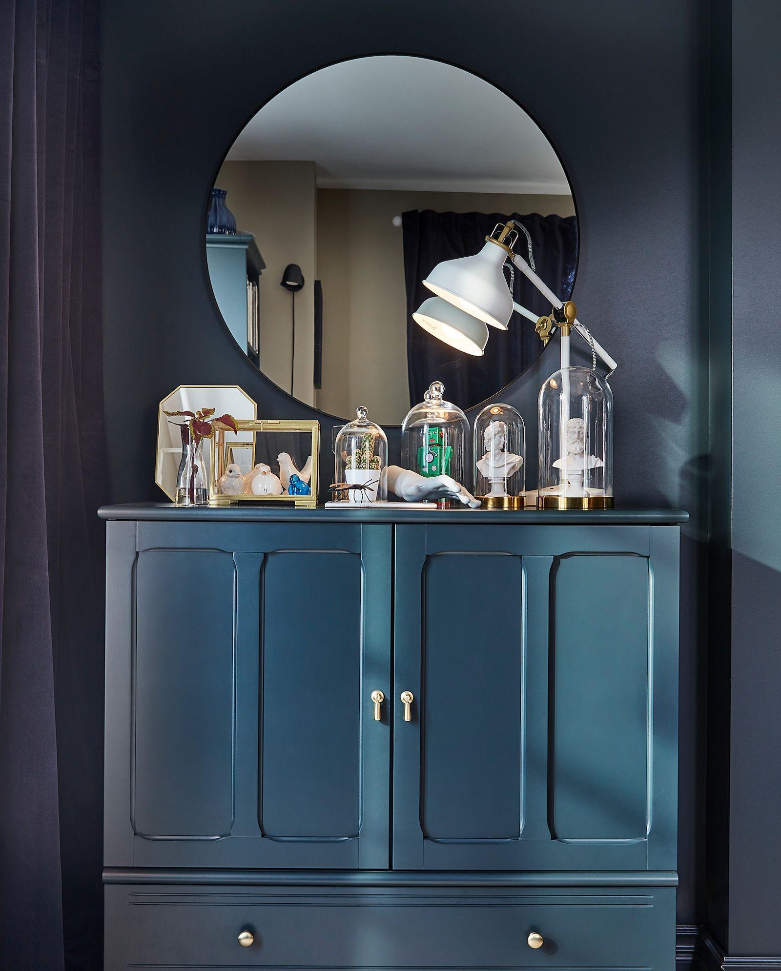 Lindbyn Mirror Black 80 Cm Ikea In 2020 Traditionelles Wohnzimmer Badspiegel Mit Regal Spiegel