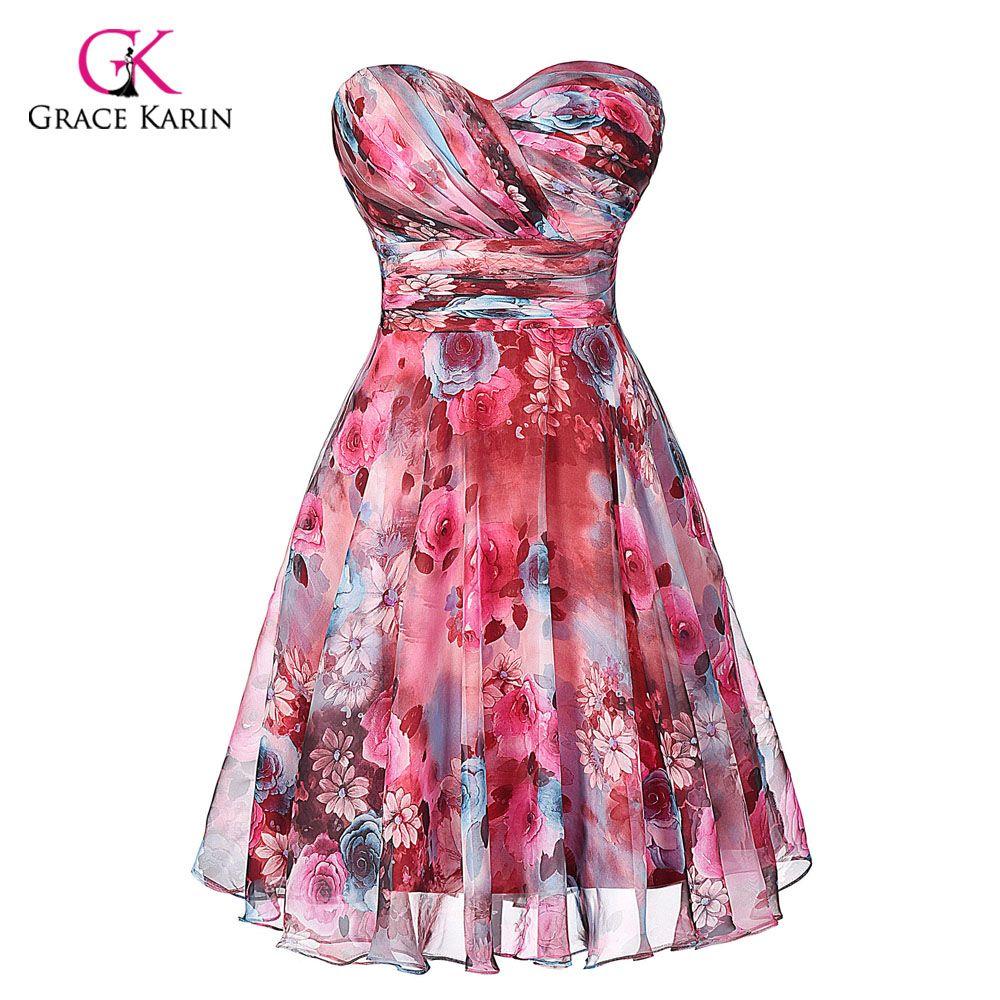 Cheap Bridesmaid dresses Grace Karin modest Chiffon Floral Print ...