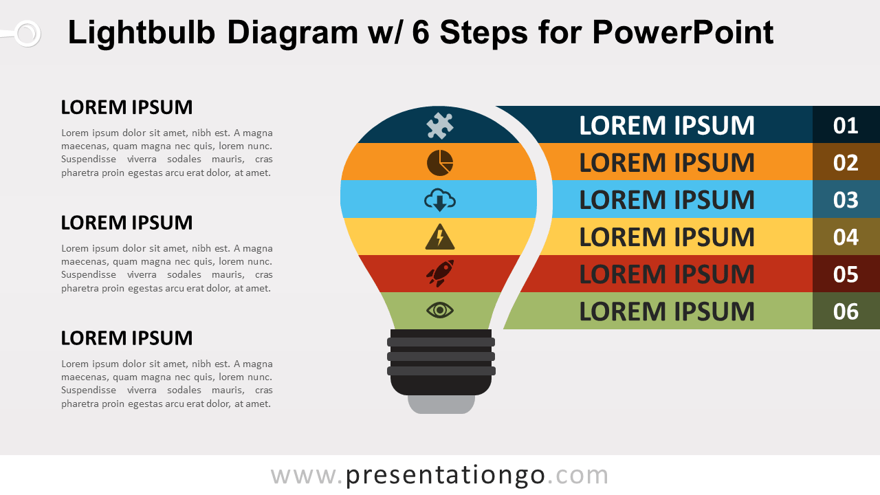 Light Bulb Diagram with 6 Steps for PowerPoint ...