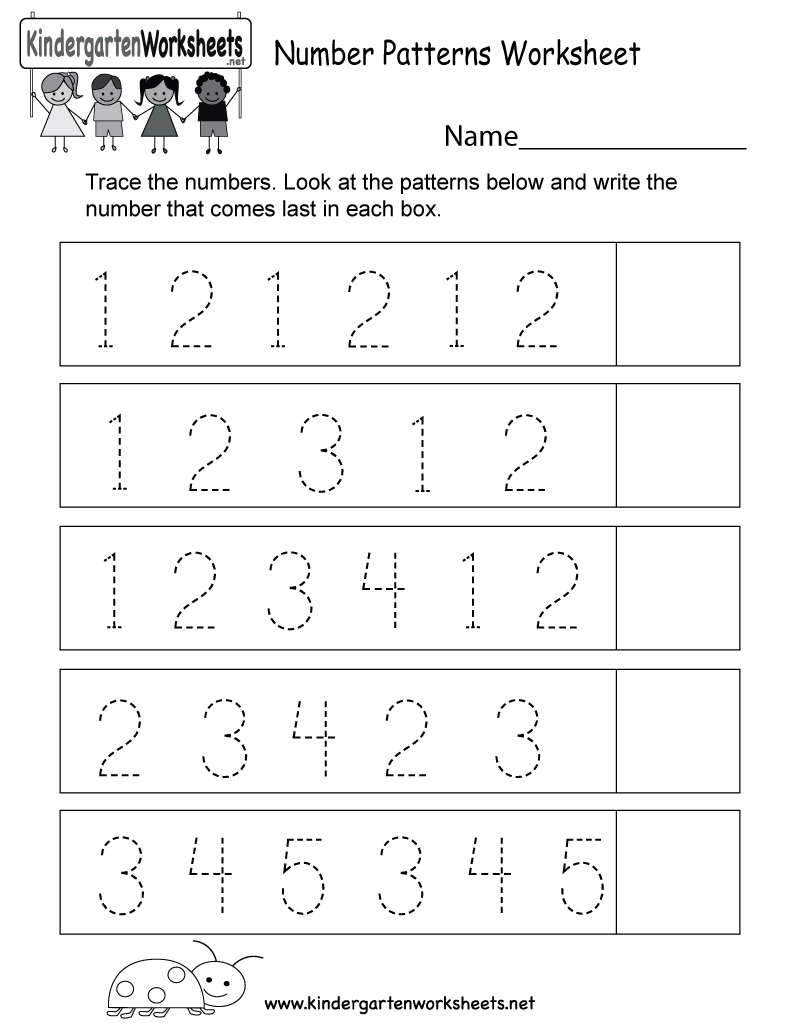 This is a number patterns worksheet. Kids can trace the numbers ...