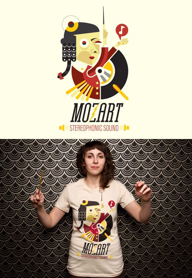 """Threadless tee """"Mozart: Stereophonic Sound"""" by Efrain Bonilla Flores - released April 30, 2012"""