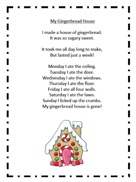 House Of Fun Freebies 2 : house, freebies, Gingerbread, Freebies, Christmas, Poems,, Poetry,, Kindergarten