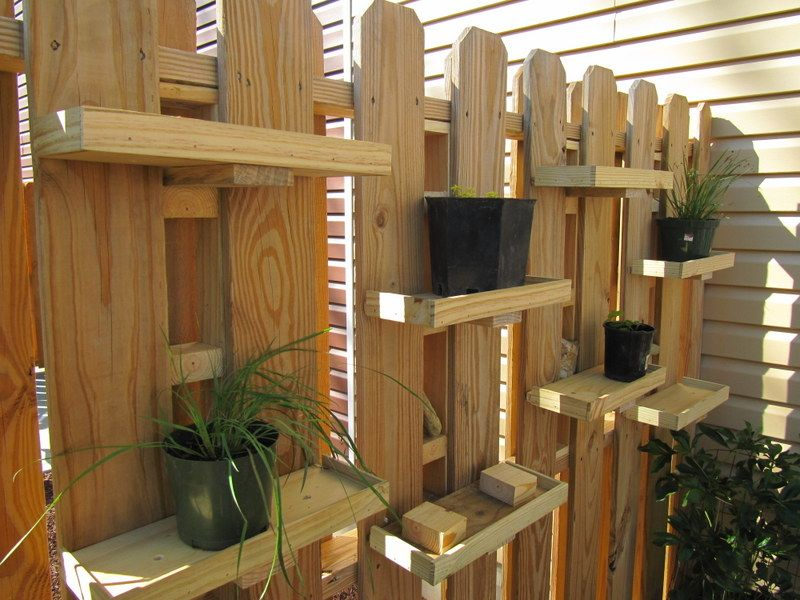 DIY Plant Shelves For A Garden Fence Good Idea If You