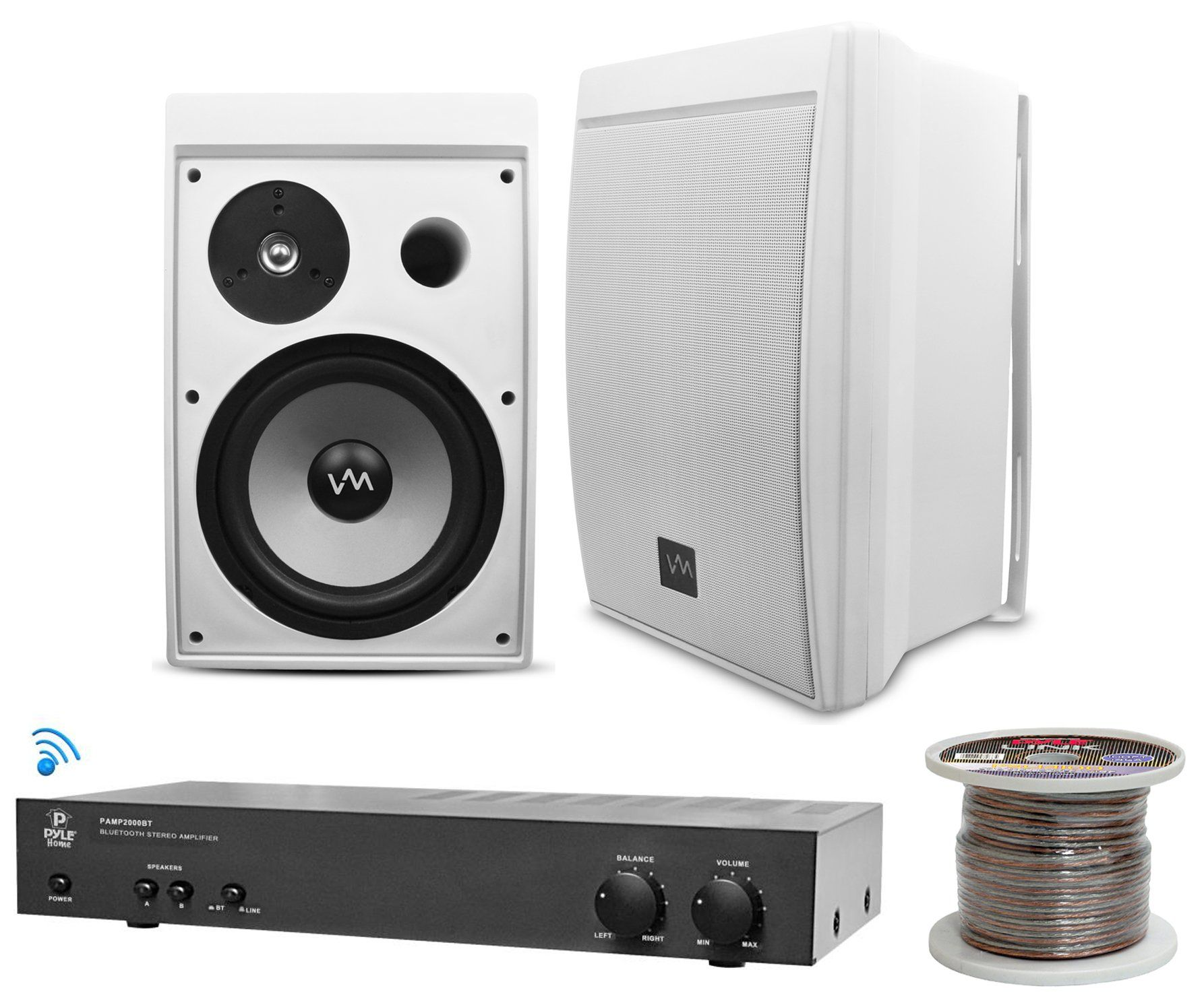 Bluetooth Outdoor Pa Speakers 2 Vm Audio 8 Pyle 2000bt Wiring For Amp