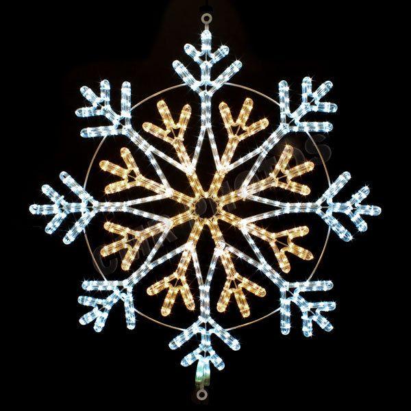 36 White Warm White Led Rope Light Snowflake Motif Silhouette