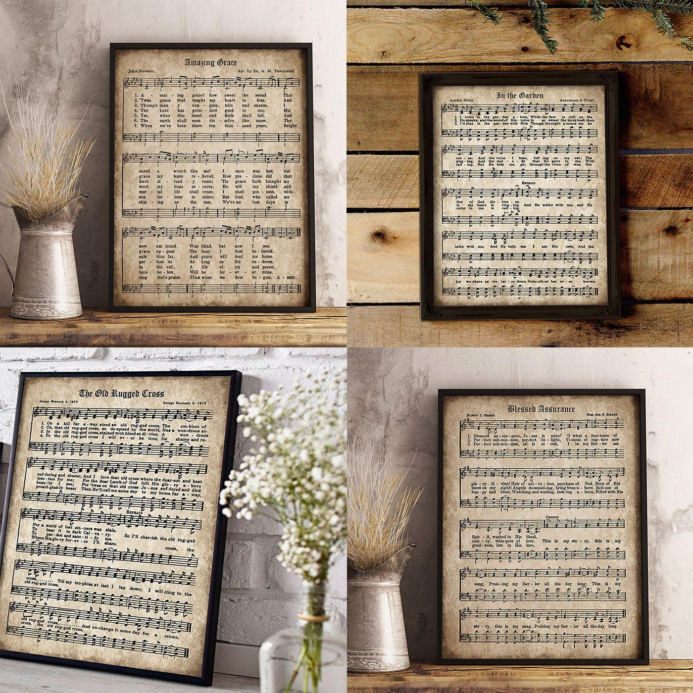Old Hymn Print Set Of 5, Printable Vintage Sheet Music