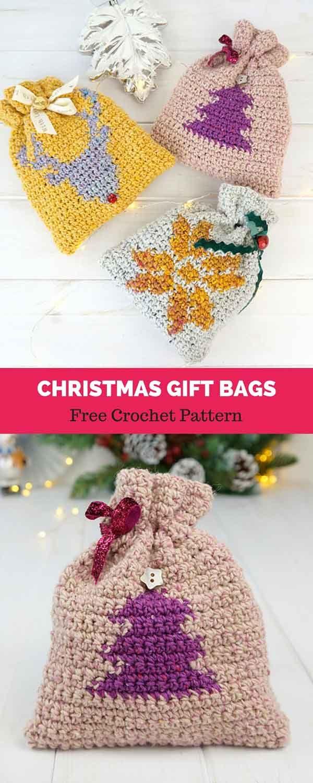 Christmas Gift Bags Free Crochet Pattern Haken Pinterest