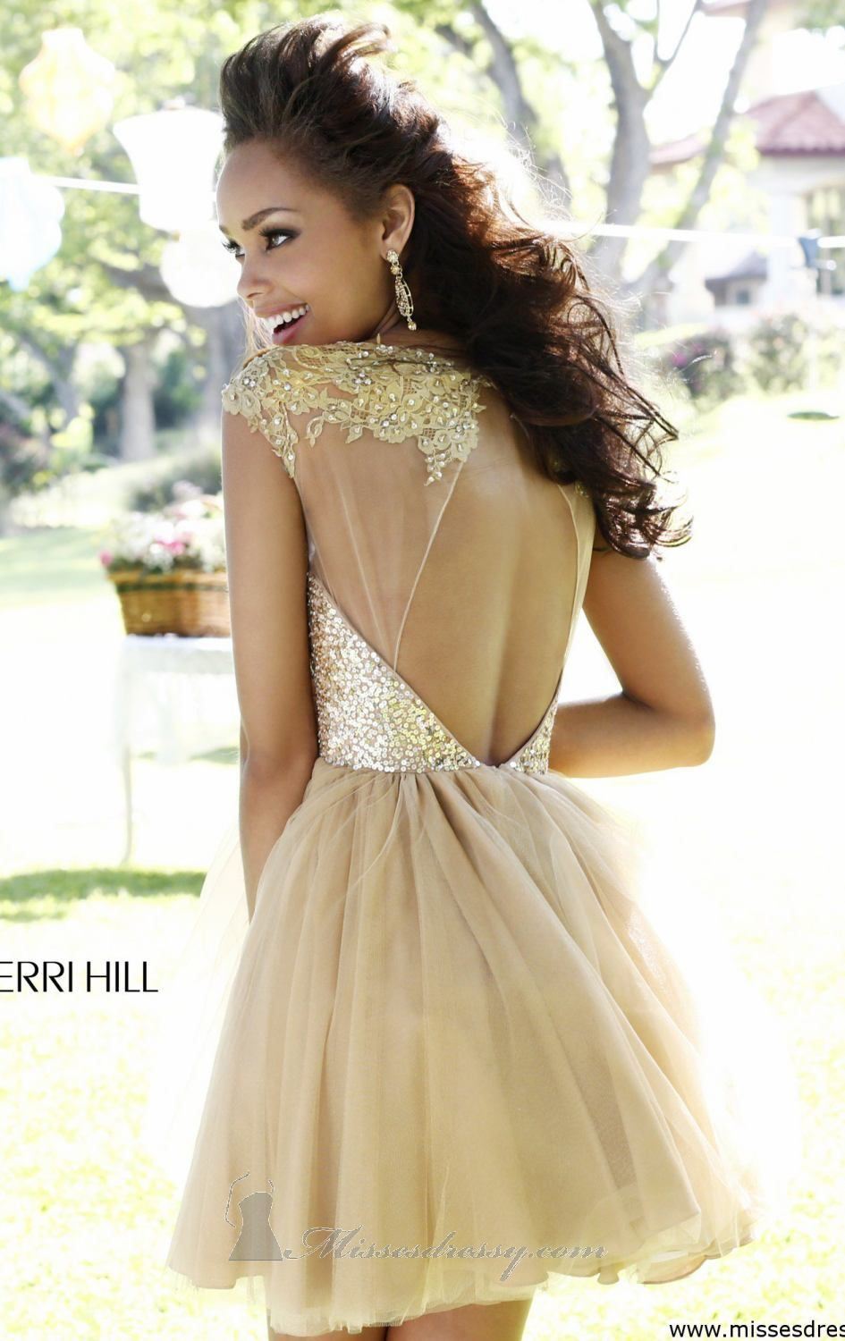 Embellished Open Back Dress by Sherri Hill. Gold Homecoming ...