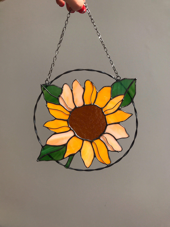 Handmade Sun catcher Sunflower suncatcher stained glass window hangings Home Decoration