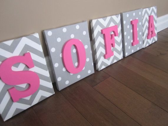 Items Similar To Wall Canvas Letters Nursery Decor Wooden Personalized Art Pink Grey And White Chevron On Etsy