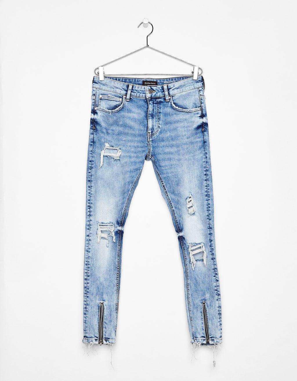 Jeans Super Skinny Fit Com Fechos De Correr Calcas De Ganga Bershka Portugal Jeans De Moda Pantalones De Moda Jeans Hombre
