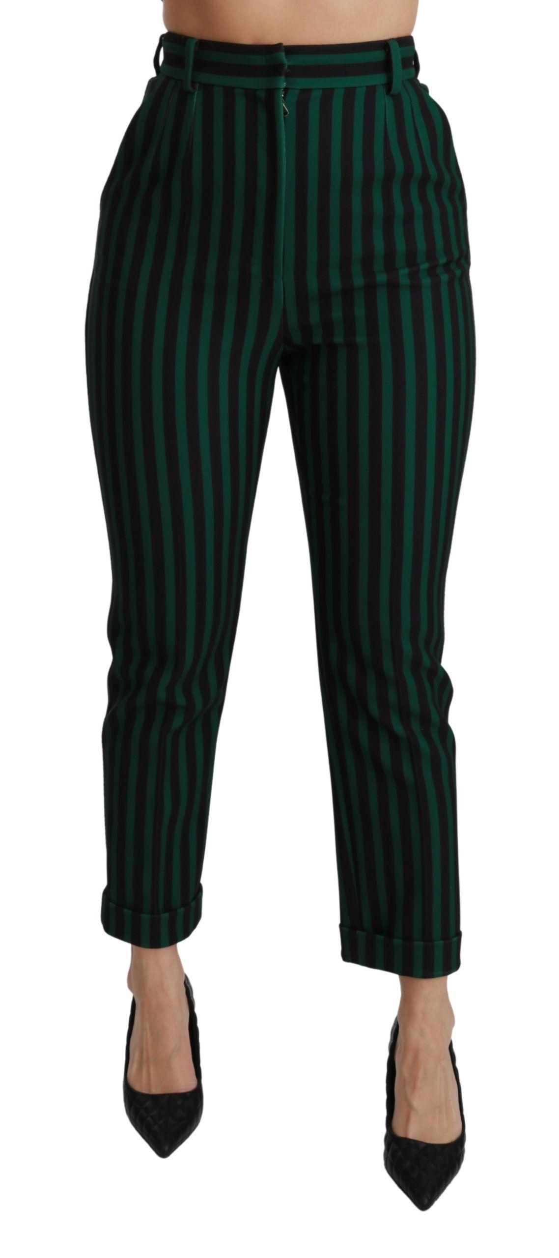 Black Green Striped High Waist Trouser Pants   IT40 S Gallery