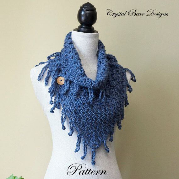 Lightweight Scarf Crochet Pattern Fringe Trim Neck Warmer