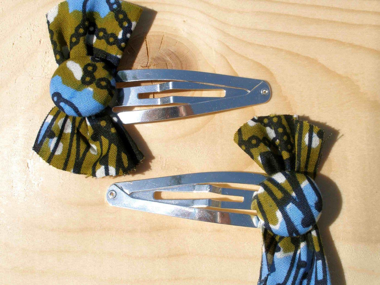 Hair bow button accessories - Kente Cloth Hair Bows
