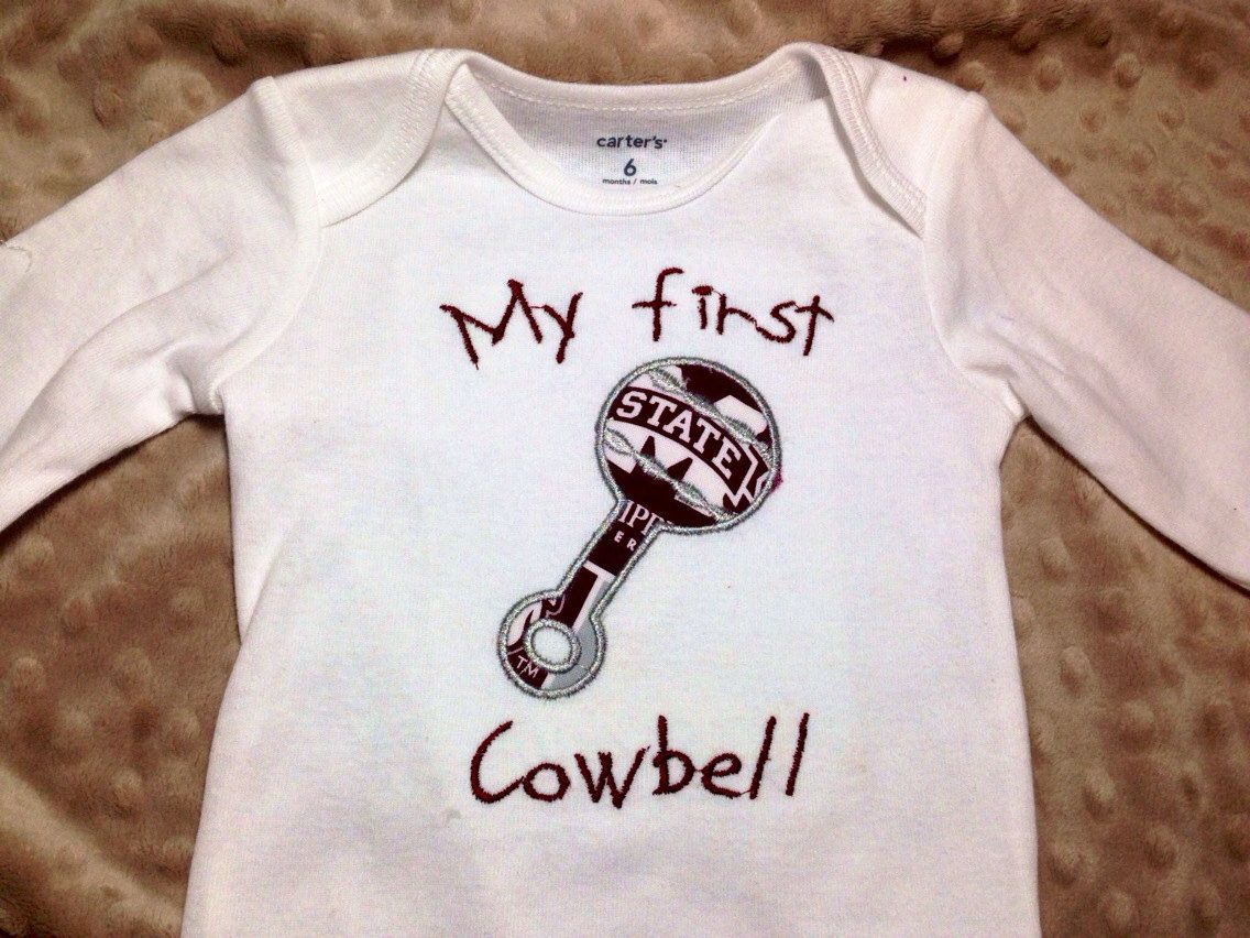 My First Cowbell Embroidered Onesie By Deepsouthhomespun On Etsy