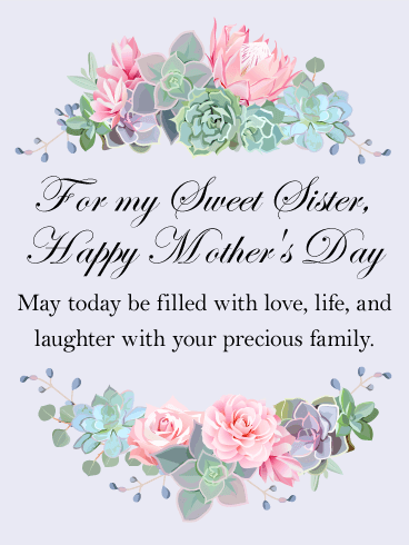 For My Sweet Sister Happy Mother S Day Card Birthday Greeting Cards By Davia Happy Mothers Day Sister Happy Mothers Day Wishes Happy Mother S Day Card