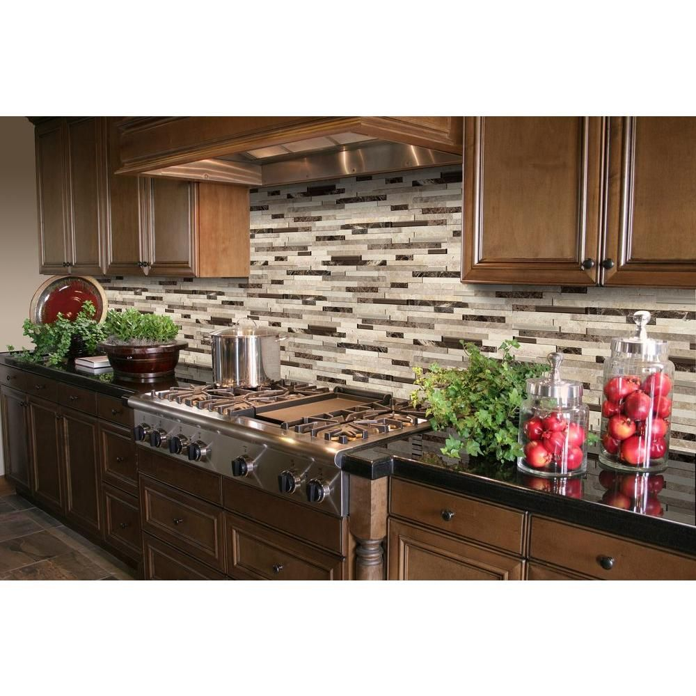 Kitchen Backsplash Rock: MSI Ashlar Rock Interlocking 8 In. X 18 In. X 8mm Glass