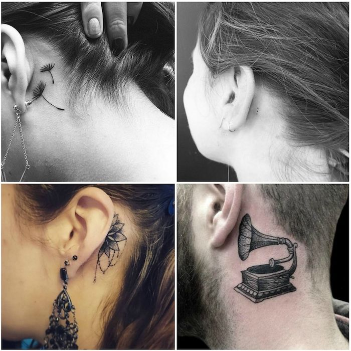 1001 ideen und bilder zum thema tattoo hinterm ohr tatto and tattoo. Black Bedroom Furniture Sets. Home Design Ideas