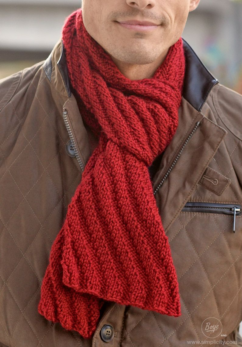 This Men S Scarf Is Knit In An Easy Diagonal Pattern With A Chunky