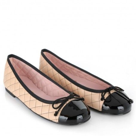 Pretty Ballerinas Ballerinas – Rosario Ballerina Quilted Leather Nude/Black – in beige – Ballerinas für Damen