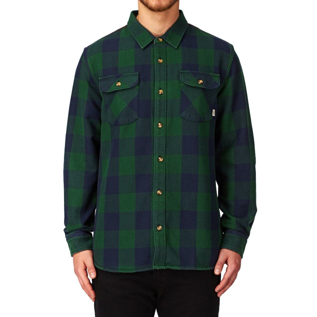 d890b9ecc1 Men s Vans Shirts - Vans Hixon Long Sleeve Shirt - Black Iris trekking Green
