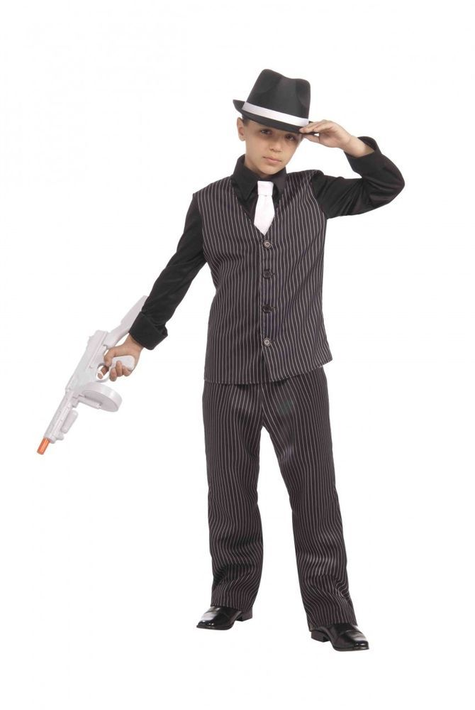 Kids Boys Gangster Black Dress up Costume 1920's Fancy Dress Party Outfit