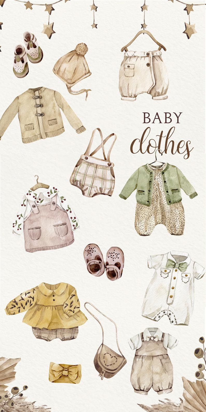 Newborn Baby Watercolor Clipart, Baby Shower, Boho