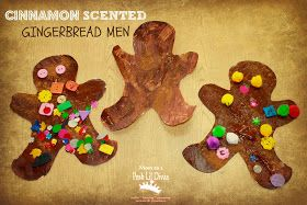 Add cinnamon and glue to brown tempera paint for smelly-good gingerbread men!!  Mom to 2 Posh Lil Divas: Christmas Themed Fine Motor, Learning & Crafty Preschool Fun