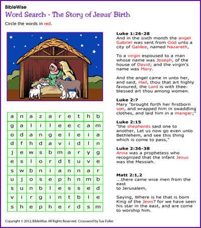 word search jesus birth christmas activity kids korner biblewise