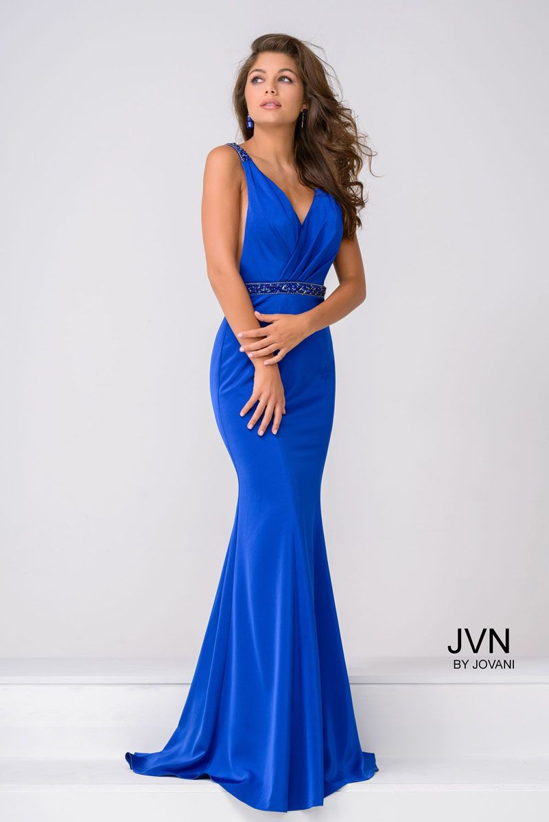 39f7461f4dc Sexy floor length form fitting royal prom dress with beaded belt and  embellished straps features v neckline and an open back