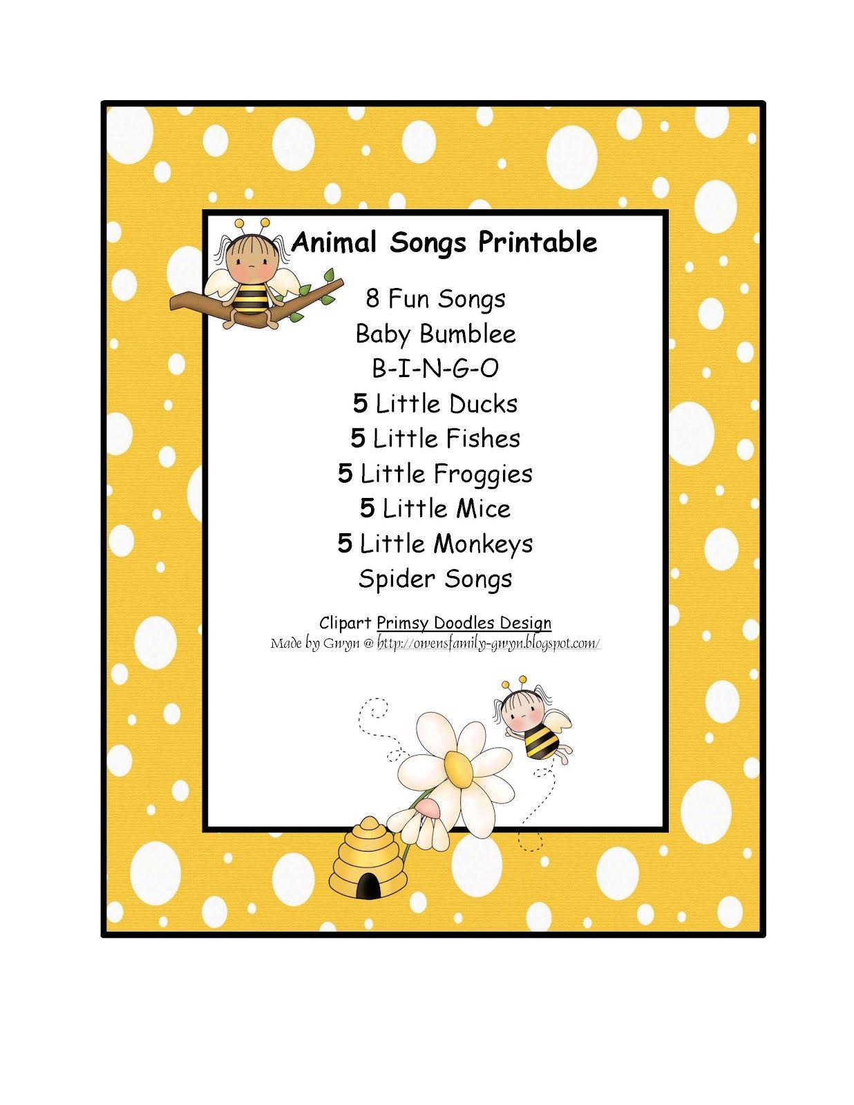 Preschool Printables Free Animal Songs Printable