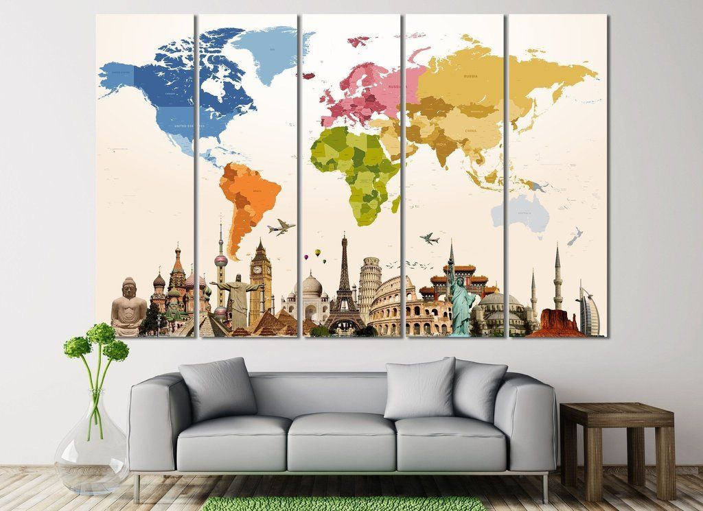 World map 109 canvas print contemporary wall decor gallery wall world map 109 canvas print publicscrutiny Gallery