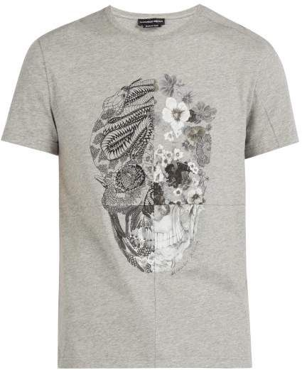 eee8236e7 Alexander McQueen Patchwork Skull Print Cotton T Shirt - Mens - Grey ...