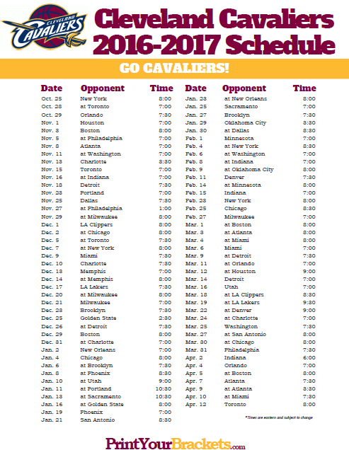 Free Printable Cleveland Cavaliers Basketball Schedule of Match Ups and  Games. Who do the Cleveland Cavaliers Play?