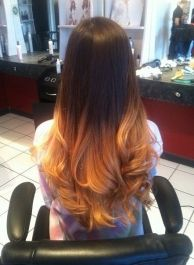 Dip Dyed Hairstyle Dark Straight Top Hair And Golden Blonde Curled