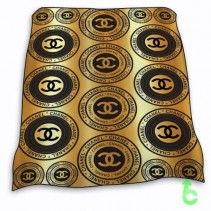 Chanel Black Logo Coin Gold Surface Blanket