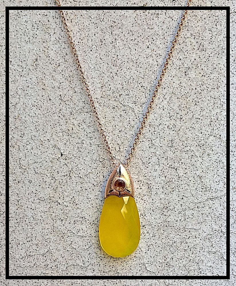 Details about Yellow Chalcedony Garnet Citrine stones k Rose Gold