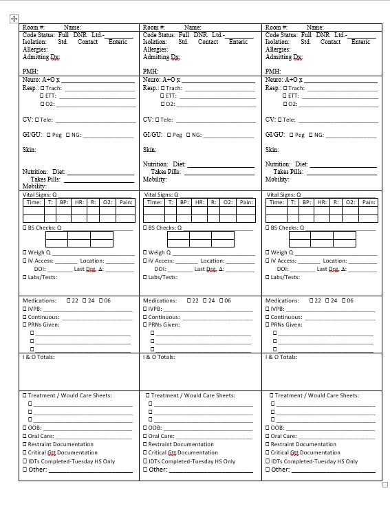 Report Sheet For Nurses Printable By Stationaryconcepts On Etsy