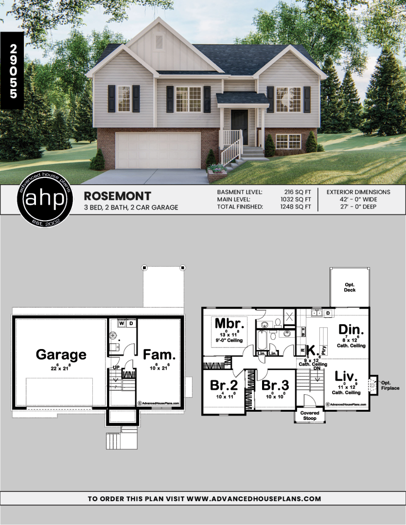 Split Level Traditional House Plan Rosemont Split Level House Plans Split Level Floor Plans Cottage House Plans
