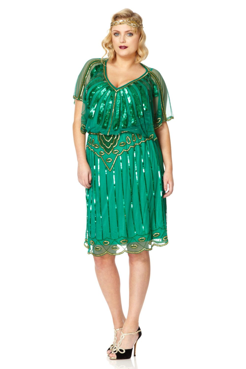 UK22 US18 #AUS22 Emerald Green #Vintage inspired 20s Flapper Great ...