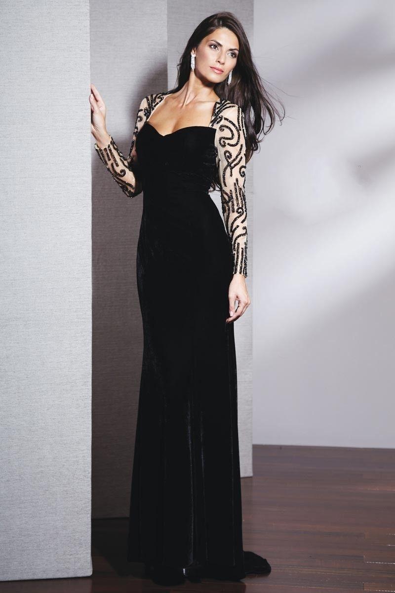 long-sleeve-evening-dresses- | Black Evening Dress | Pinterest ...