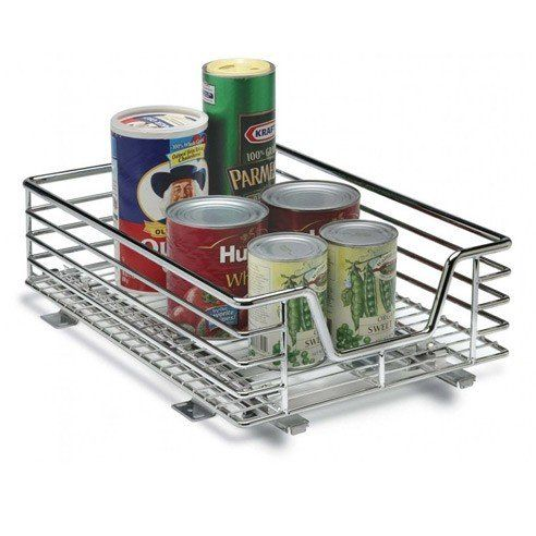 Attrayant 12 X 18 Chrome Slide Out Cabinet Basket By Household Essentials
