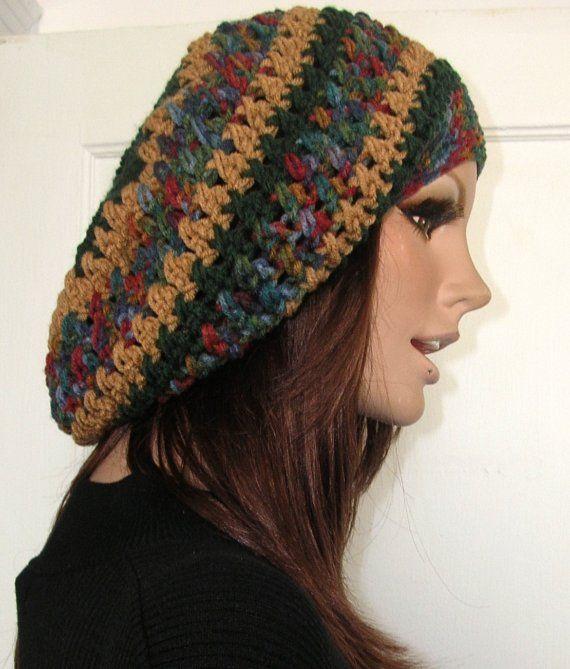Crochet Rasta Hat Hippie Beret Slouchy Beanie by ...
