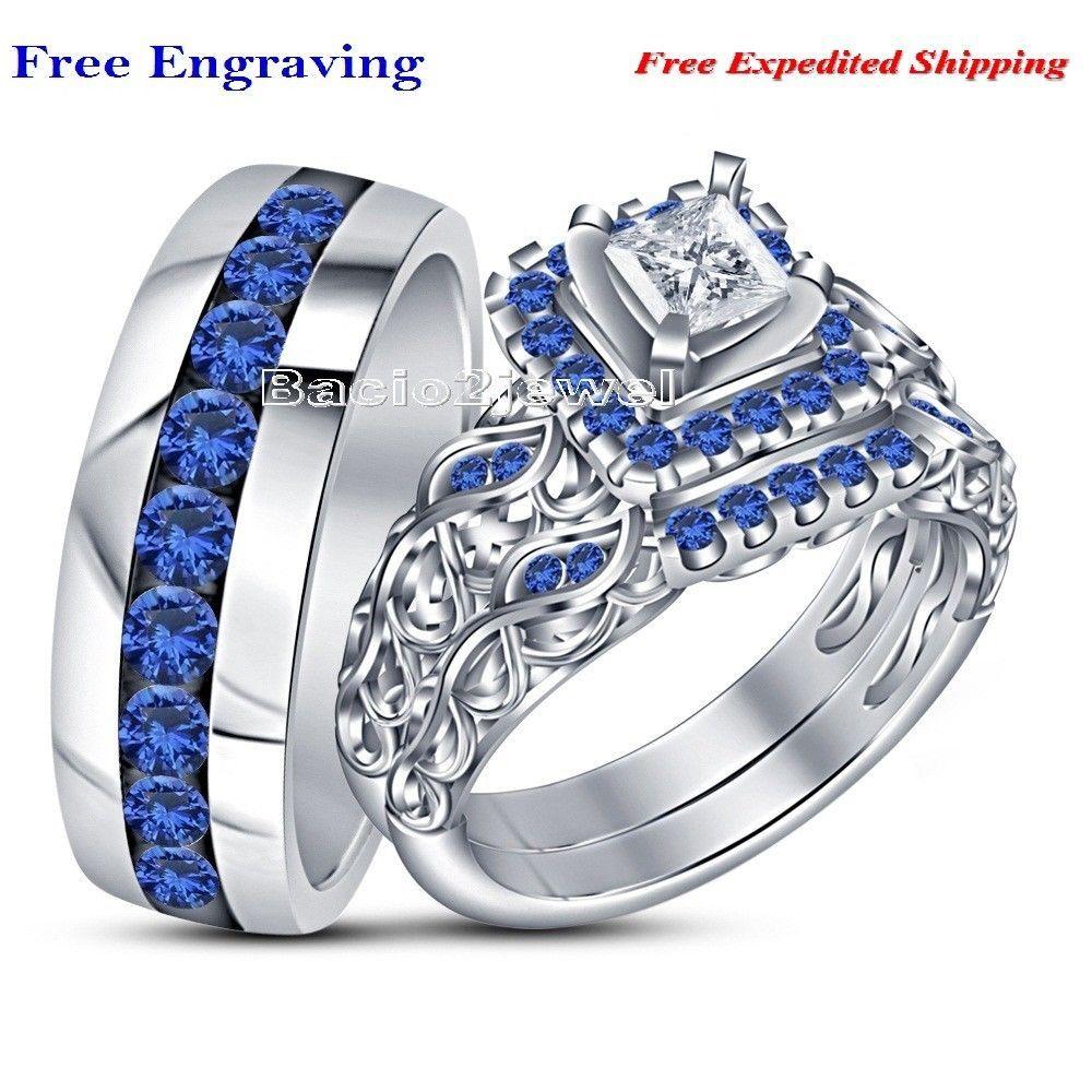 Princess Diamond Blue Sapphire 14k White Gold Over Bride Groom Trio Ring Set Bacio2jewel Couple Wedding Rings Wedding Ring Trio Sets Silver Wedding Rings