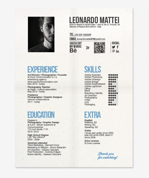 Cv Business Card By Leonardo Mattei Via Behance